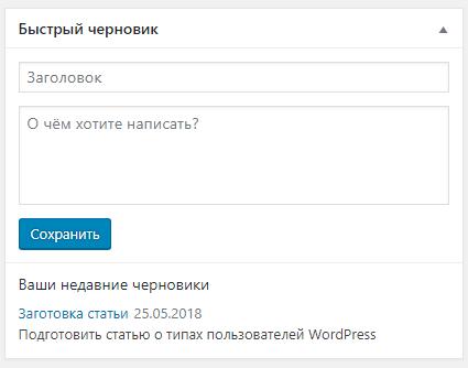 Консоль WordPress - Быстрый черновик