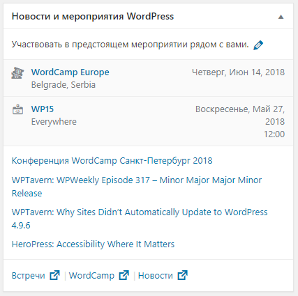Консоль WordPress - Новости WordPress