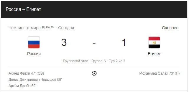 19.06.2018. Россия - Египет