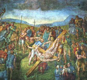 Микеланджело Буонаротти. Фреска «Распятие Святого Петра»