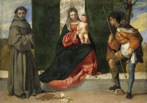 Тициан Вечеллио. Мадонна с младенцем и святыми Антонием Падуанским и Роком