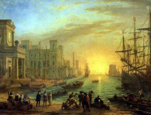 Клод Лоррен. Морская гавань при заходе солнца
