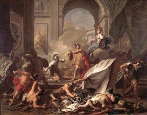Жан-Марк Натье. Персей, под защитой Минервы, превращает Финея в камень размахивая головой Медузы