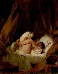 Жан Оноре Фрагонар. Девочка в постели, играющая с собачкой