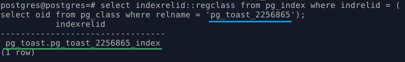 PostgreSQL. Информация об индексе на toast-таблицу