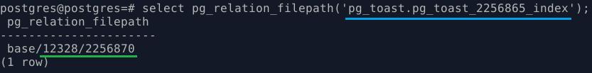 PostgreSQL. Файлы индекса на toast-таблицу