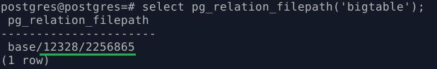 PostgreSQL. Файлы таблицы на диске