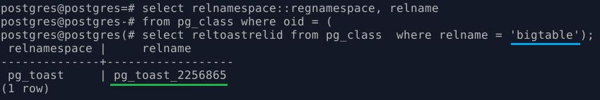 PostgreSQL. Информация о toast-таблиец