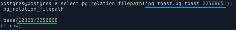 PostgreSQL. Файлы toast-таблицы на диске
