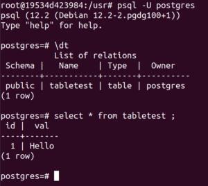 psql tabletest inD